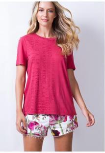 T-Shirt Lança Perfume Decote Redondo Feminina - Feminino-Rosa