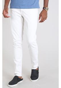 Calça De Sarja Masculina Slim Off White