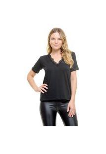 Camiseta Aura Renda Preto