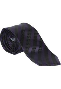 Gravata Tradicional Maquinetada - Roxa & Preta - 6X7Ogochi