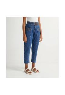 Calça Mom Jeans Liso Mom Com Cinto Faixa E Detalhes Pespontados