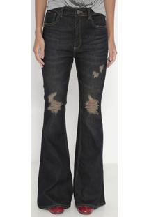 Jeans High Flare Sisak- Azul Escuro- John Johnjohn John