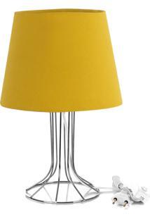Abajur Torre Dome Amarelo Mostarda Com Aramado Cromado