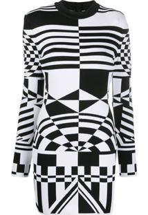 Balmain Vestido Com Padronagem Geométrica - Preto