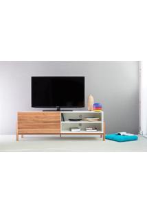 Rack Tv Contemporâneo-Moderno Eric 1400 Mdf Branco Pés Madeira Cor Jatobá Porta De Madeira De Correr - 146X43,6X48,5 Cm