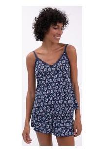Pijama De Alcinha Estampa Floral Com Renda