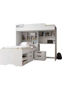 Módulo Office New C/Cama E Mesa De Cabeceira 02 Gavetas Santos Andirá Branco - Tricae