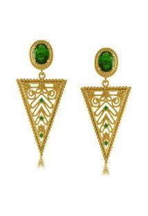 Brinco Priscila Melo Joias Triangular Com Zircônia Verde Dourado