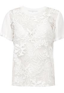 Camiseta Forum Tule Bordado Off-White - Kanui
