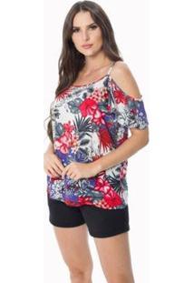 Blusa Zipituka Com Alça 107 Estampa Vermelho - Vermelho - Gg - Feminino