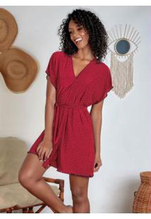 Robe Com Faixa Poá Vermelha