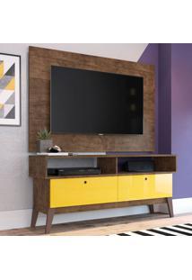 Rack Com Painel Para Tv Até 49 Polegadas Míconos Marrom E Amarelo 136 Cm
