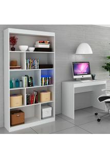 Escrivaninha E Estante Para Escritório-Ho-2953-Hecol - Branco