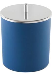Lixeira Azul Com Tampa Inox 23Cm
