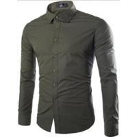 f554f86ee8 Camisa Social Masculina Slim Manga Longa - Verde Exército