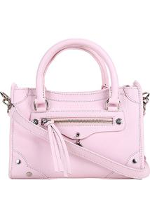 Bolsa Couro Carmim Mini Bag Lorena Feminina - Feminino-Rosa