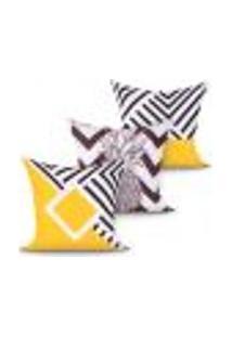 Kit Capa Almofada Decorativa Preta E Amarela Estampada Para Sala Kit Com 3 Unidades 45Cm X 45Cm Com Zíper