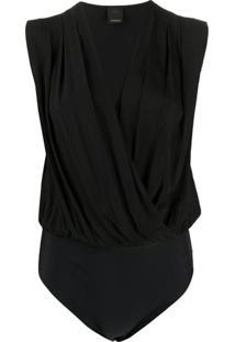 Pinko Sleeveless Wrap Style Body - Preto