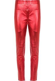 Andrea Bogosian Calça Skinny De Couro Metalizado - Vermelho