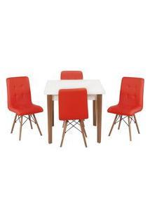 Conjunto Mesa De Jantar Luiza 80Cm Branca Com 4 Cadeiras Gomos - Vermelho