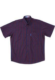 Camisa Xadrez Masculina Manga Curta Rodeo Western - Masculino-Azul Escuro