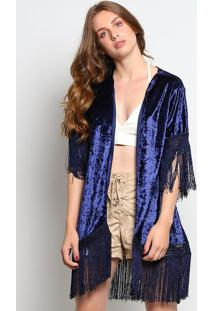 Kimono Aveludado Com Franjas- Azul Marinho- Gup'S Jegup'S Jeans