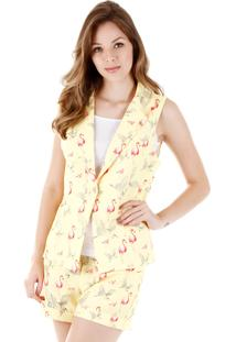 Colete Sarja Lara Flamingo - Amarelo