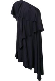 318c1d899f026 Lanvin Vestido Assimétrico Com Babado - Azul