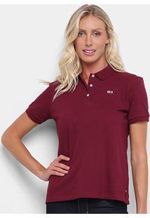 Camisa Polo Tommy Jeans Lisa Feminina - Feminino-Bordô