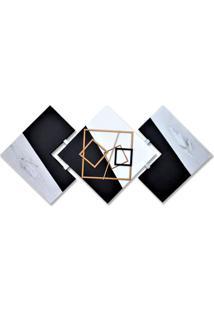 Quadro Decorativo Abstrato Pintura Artesanal 60X120 Cm Preto Com Cinza