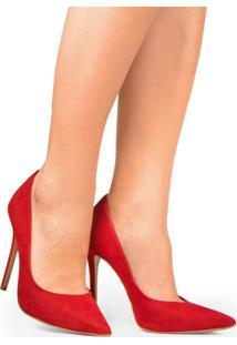 Scarpin Grazi 930-80030/999-80562/930-80138 Nobuck Vermelho (Forro Bege) Vermelho
