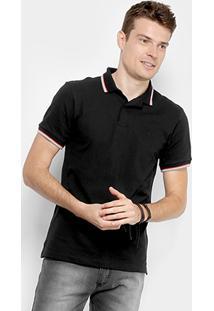 Camisa Polo Forum Piquet Elastano Masculina - Masculino-Preto