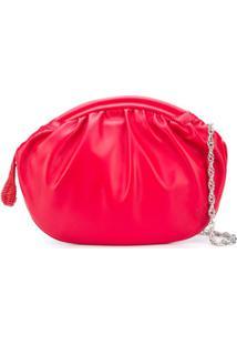 Rodo Ruched Clutch Bag - Vermelho