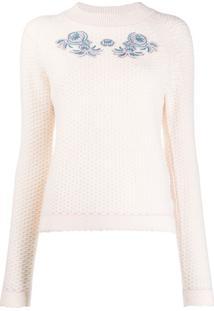 Vilshenko Suéter De Crochê Com Bordado Floral - Neutro