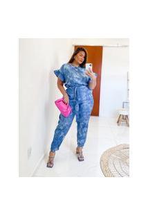 Calça Almaria Plus Size Miss Taylor Jogger Tie Dye Azul