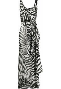 Dolce & Gabbana Vestido Assimétrico Com Animal Print - Preto