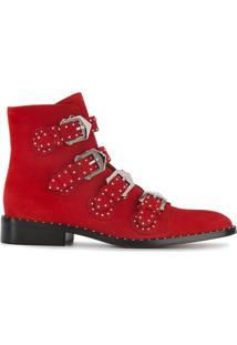 Givenchy Ankle Boot De Camurça Com Tachas 'Elegant' - Vermelho