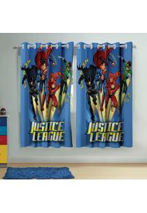 Cortina Com Ilhós Infantil Estampada Liga Da Justiça 1,50 M X 1,80 M Com 2 Peças Lepper Azul