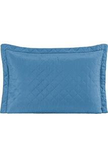 Porta Travesseiro Mr Microfibra 01 Peça Matelado Ultrassônico - Azul