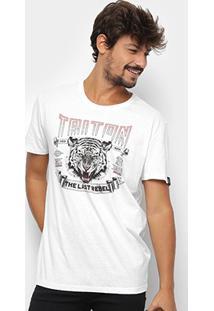 Camiseta Triton Estampa Tigre Masculina - Masculino-Branco