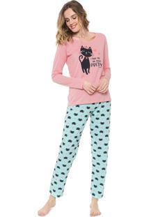 Pijama Malwee Liberta Gatos Rosa/Azul