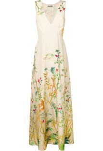 Alberta Ferretti Vestido Longo De Seda Floral - Neutro