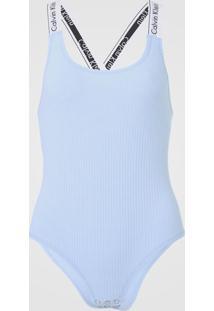 Body Calvin Klein Underwear Canelado Azul