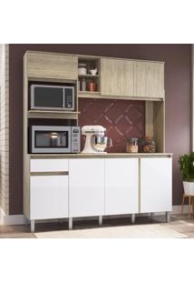 Cozinha Compacta 7 Portas 1 Gavetas Anis Malbec/Branco - Decibal Móveis
