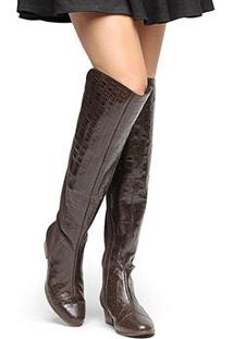 Bota Couro Over The Knee Shoestock Croco Feminina - Feminino