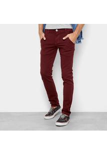 Calça Skinny Preston Color Bolso Faca Masculina - Masculino-Vinho