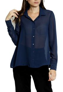 Camisa Manga Longa Energia Fashion Azul Marinho