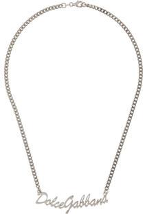 Dolce & Gabbana Colar De Corrente Com Logo - Prateado