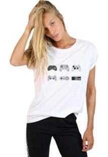 Camiseta Joss Estampada Videogames Feminina - Feminino-Branco