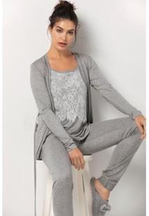 Conjunto De Pijama Acuo Com Cardigan Arabesco Feminino - Feminino